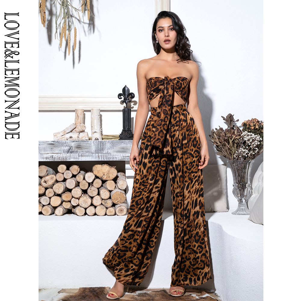 LOVE&LEMONADE Sexy Two-Pieces Leopard Chiffon High Waist Sets LM6473-1
