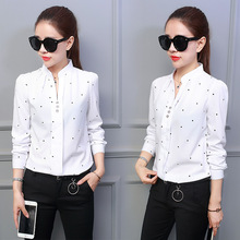 New Style Loose Korean Type Fashion Leisure Button V Collar Casual White Chiffon Shirts