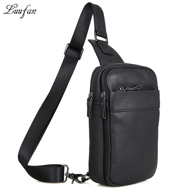 384920c929 Men s genuine leather crossbody bag Black real leather messenger bag Cowhide  chest bag for iPad mini causal shoulder bag zipper