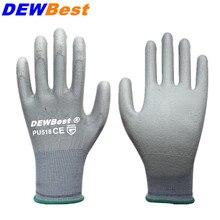 DEWBest CE сертифицированные EN388 полиэстер черный PU рабочие защитные перчатки механические рабочие перчатки
