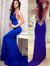 Evening Long Prom Dress Formal Party Mermaid Gown party Backless Blue dress custom made