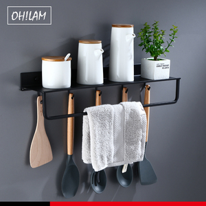 Image 2 - Black Bathroom Shelves 30 60cm Lenght Kitchen Wall Shelf Shower Basket Storage Rack Towel Bar Robe Hooks Bathroom Accessories