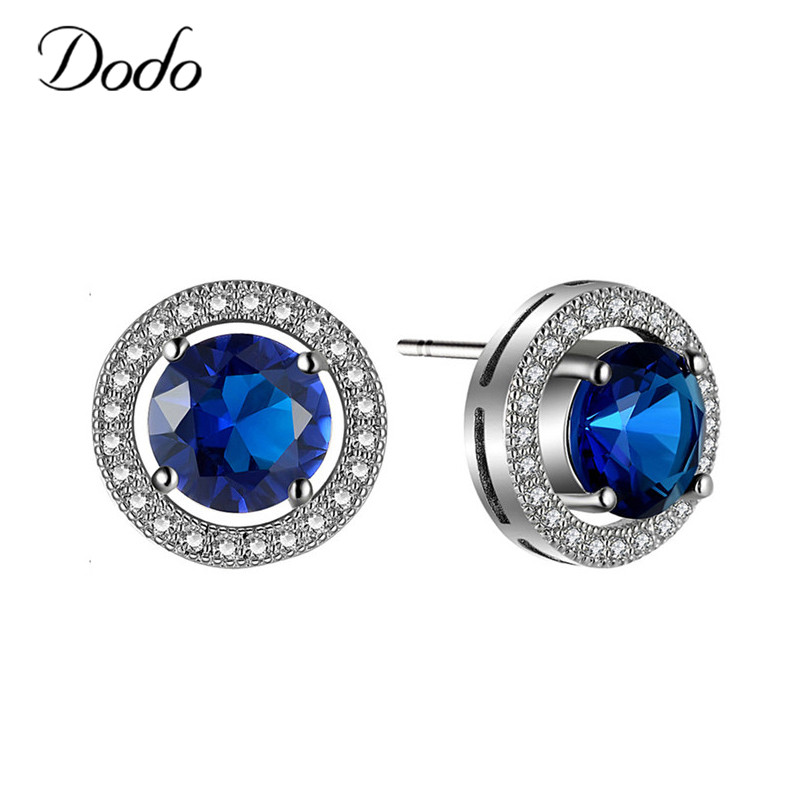 New Arrival Vintage Jewelry Stud Earrings Elegant Silver Color AAA Cubic Zircon Blue Earrings Wholesale For Wedding brincos E191