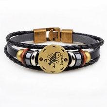 Moda 12 signos do zodíaco pulseira de couro constelações charme ajustável braceletsjewelry pulseiras de couro para mulher pulsera