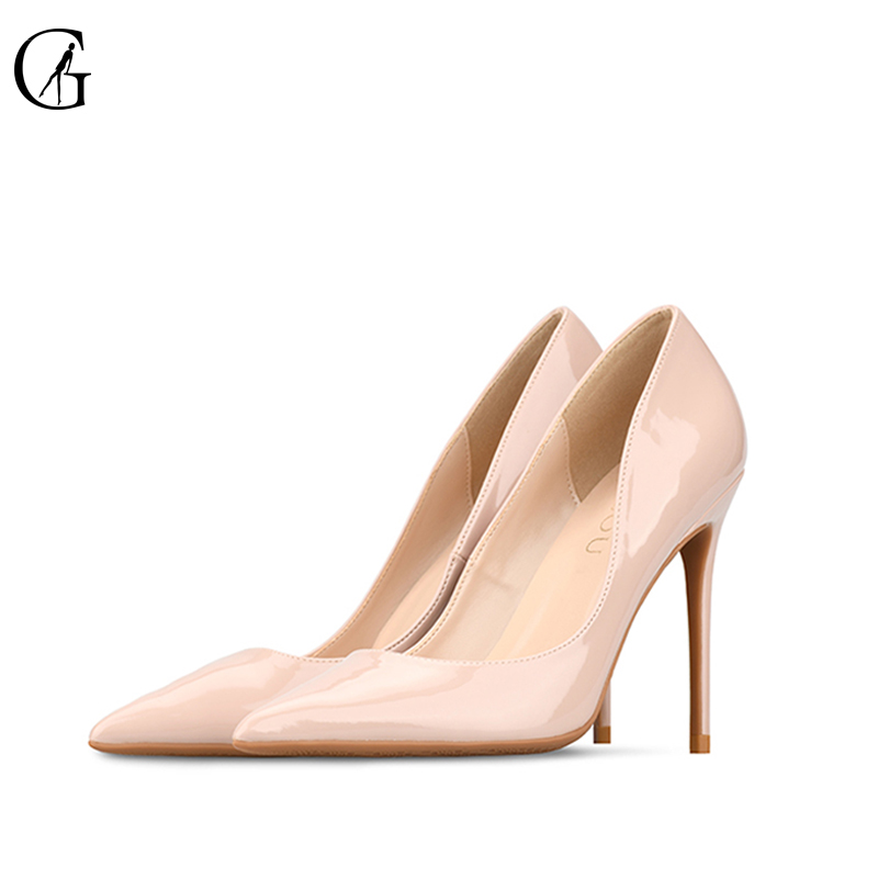 GOXEOU Big Size 32-46 2018 New Fashion high heels women shoes thin heel classic white red nude sexy prom wedding shoes