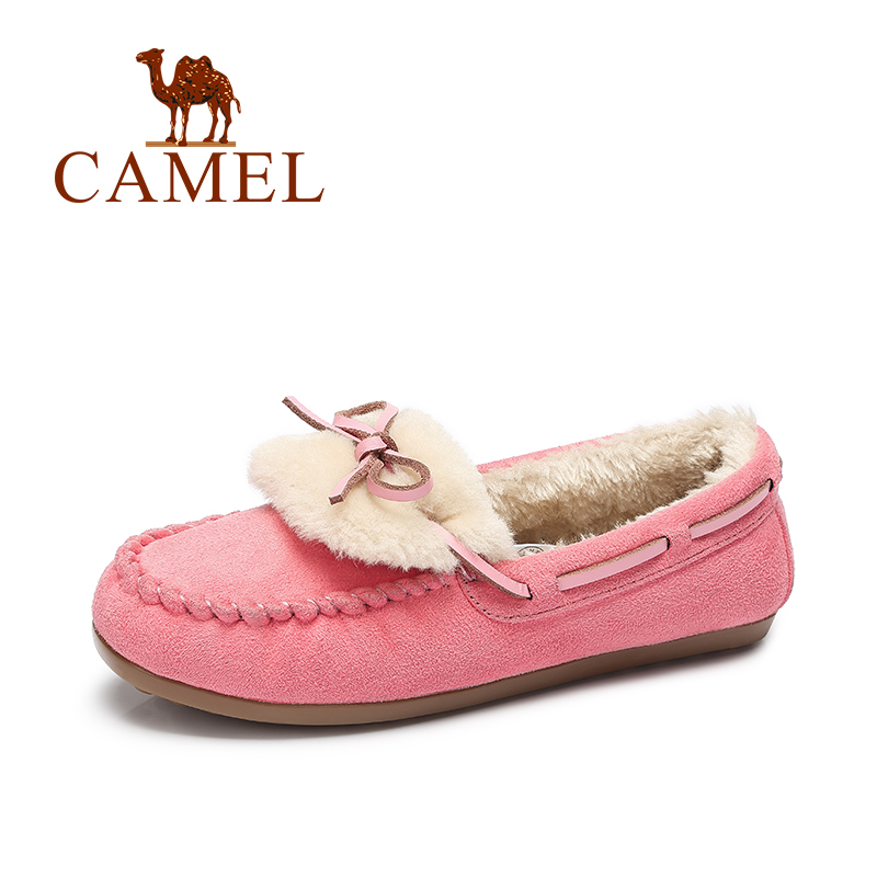 Camel Women's Boat Shoes Winter Short Plush Snow Shoes Flat