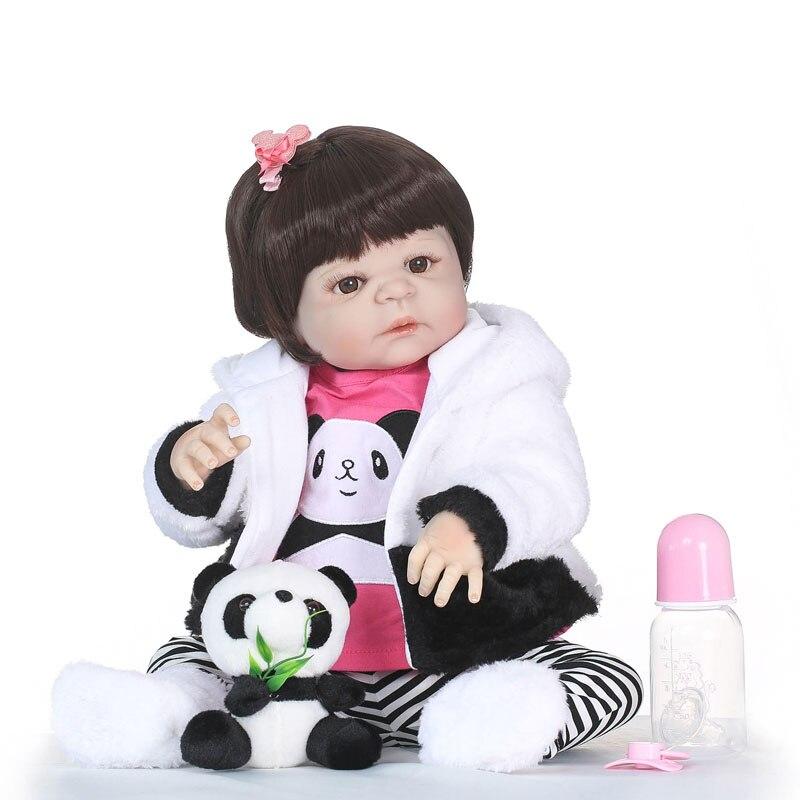 55 см полный силиконовый винил Reborn Девочка Кукла игрушки с пандой 22 дюймов Новорожденный Bebe Принцесса Младенцы живые игрушки для ванной игру...