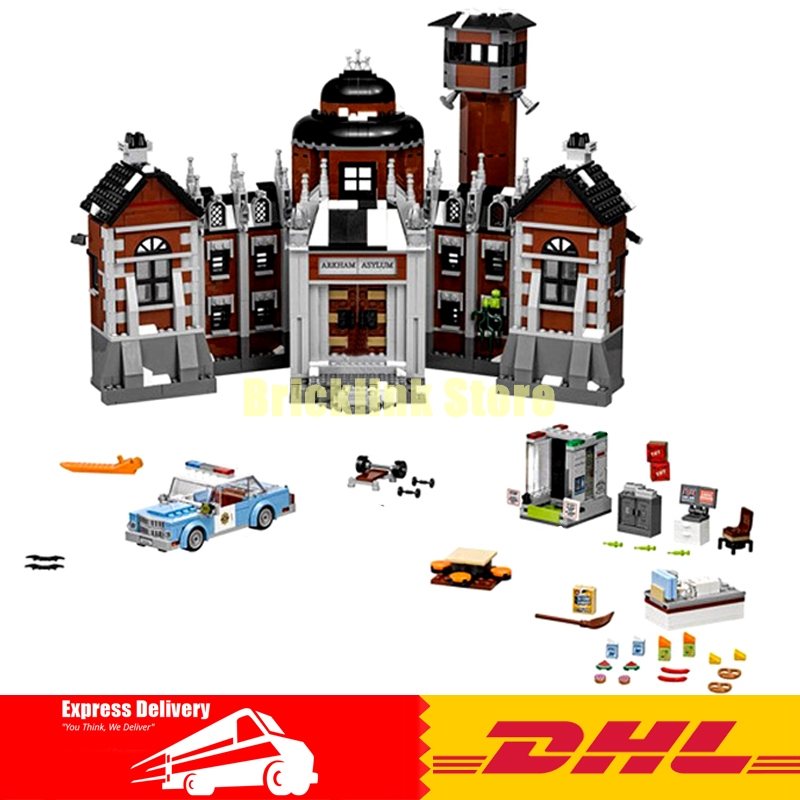 IN Stock 1628Pcs Lepin 07055 Genuine Series Batman Movie Arkham Asylum Building Blocks Bricks Toys with 70912 lepin 07055 1628pcs genuine batman movie series the arkham s lunatic asylum set building blocks bricks toys for children 70912