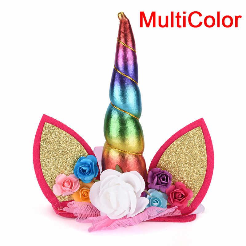 Tiara Glitter Metallic Rainbow Bowknot Unicorn Horn with Flowers Headband Party