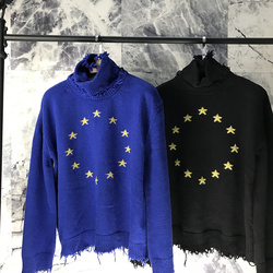 2018ss Vetements Best Version 1:1 Quality Europen Stars Embroider Turtleneck Sweater Hiphop Women Men Sweaters Pullover Outwear