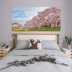 Image 4 - Japan Mountain Cherry Bossoms Tree Floral Scenery Wall Sticker Bedroom Decal Art Decor Self Adhesive Waterproof Home Mural Decor