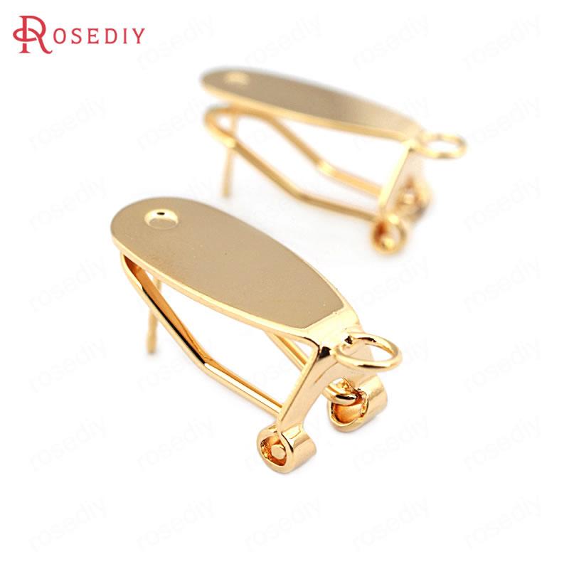 (33715)10PCS 22*8,5 MM 24K Gold Farbe Messing mit Stick Trays Stud Ohrringe Clips Hohe Qualität Diy schmuck Erkenntnisse Zubehör