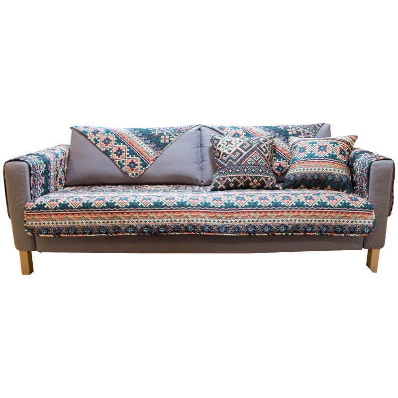 Богемный этнический ветряной Хлопковый чехол для дивана устойчивый грязный геометрический ретро-диван Чехлы на диване эластичный диван для оформления дома Чехол