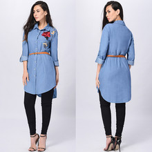 Free Ostrich Rose Embroidered Women Long Sleeve Collared Long Shirt Top Turn down Collar Blue Shirts