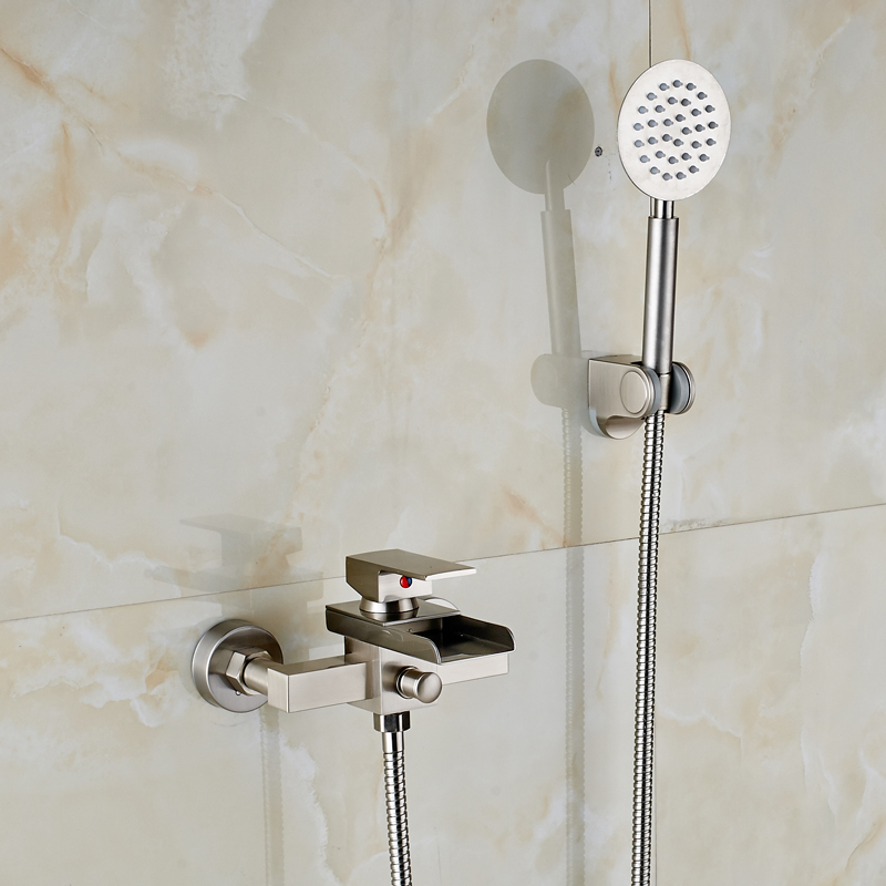 Bathroom Brass Hand Shower Faucet Brushed Nickel Wall Mounted New Arrival
