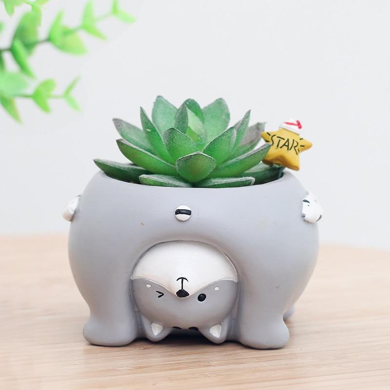 1pcs Succulent Flowerpot Plant Cartoon Animal Mini Bonsai Cactus Flower Pot Desktop Balcony Home Decor Wedding Birthday Gifts in Flower Pots Planters from Home Garden