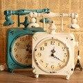 Estilo Pastoral estilo retro moda ferro arte relógio de mesa quadrada mesa de telefone rotativo relógio de decoração para casa