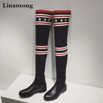 Luxury Brand Socks Boots Women Over The Knee High Boots Autumn Winter Knitted Shoes Long Thigh High Boots Elastic Slim Size34-40