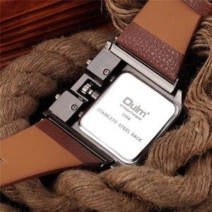 Image 2 - Oulm Mens Wrist Watches Luxury Design Quartz Watch Men Square Dial PU Leather Strap Male Military Antique Clock erkek saat