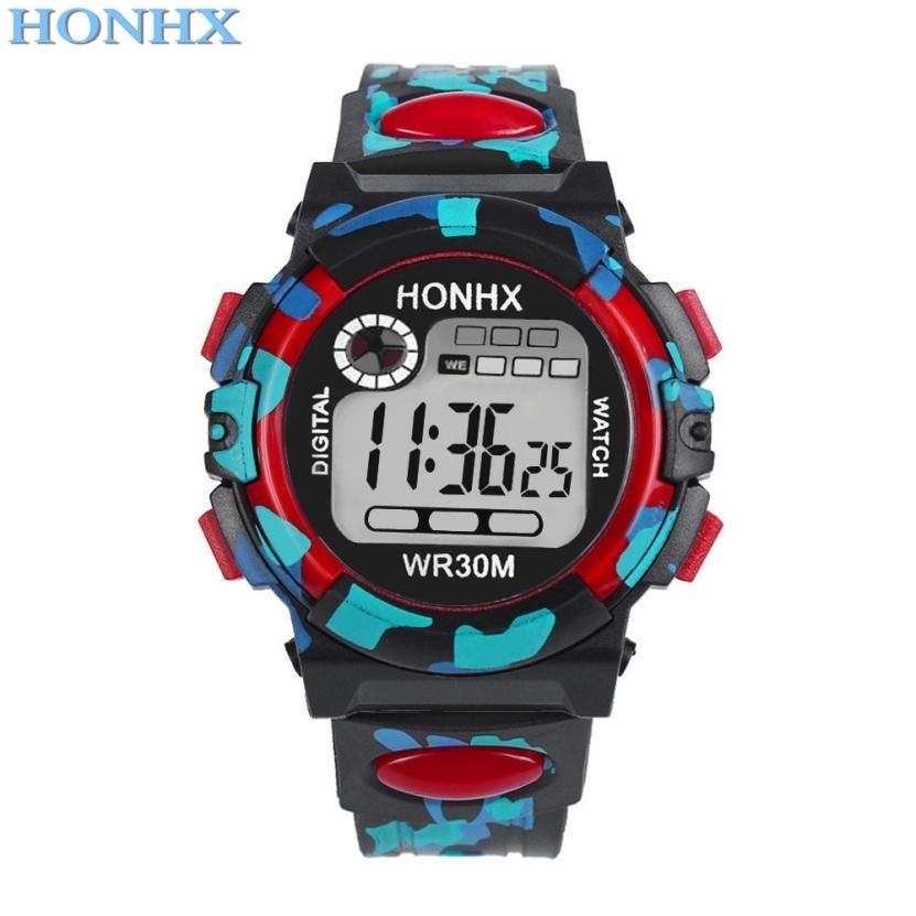 Child Watch Sport Hot Sale Honhx Kids Child Boy Girl Multifunction Child Watch Waterproof Sports Electronic Watches