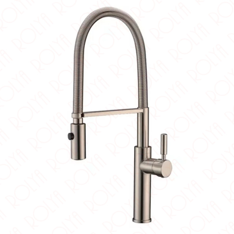 Rolya Spring Pull Down Kitchen Faucet Nickel Brushed One Handle High Arc Solid Brass Faucet