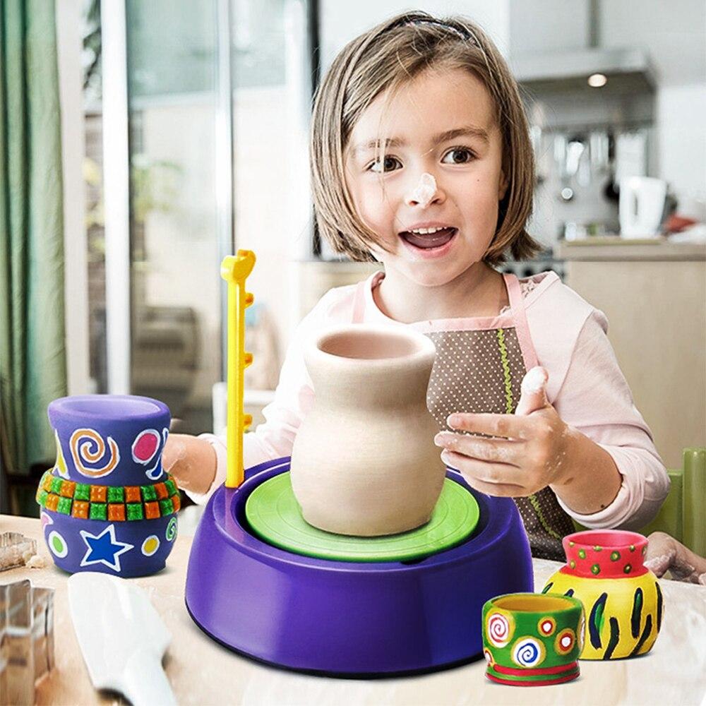 Diy handmake cerâmica cerâmica máquina crianças artesanato brinquedos para meninos meninas mini rodas de cerâmica artes artesanato cedo educacional criança brinquedo