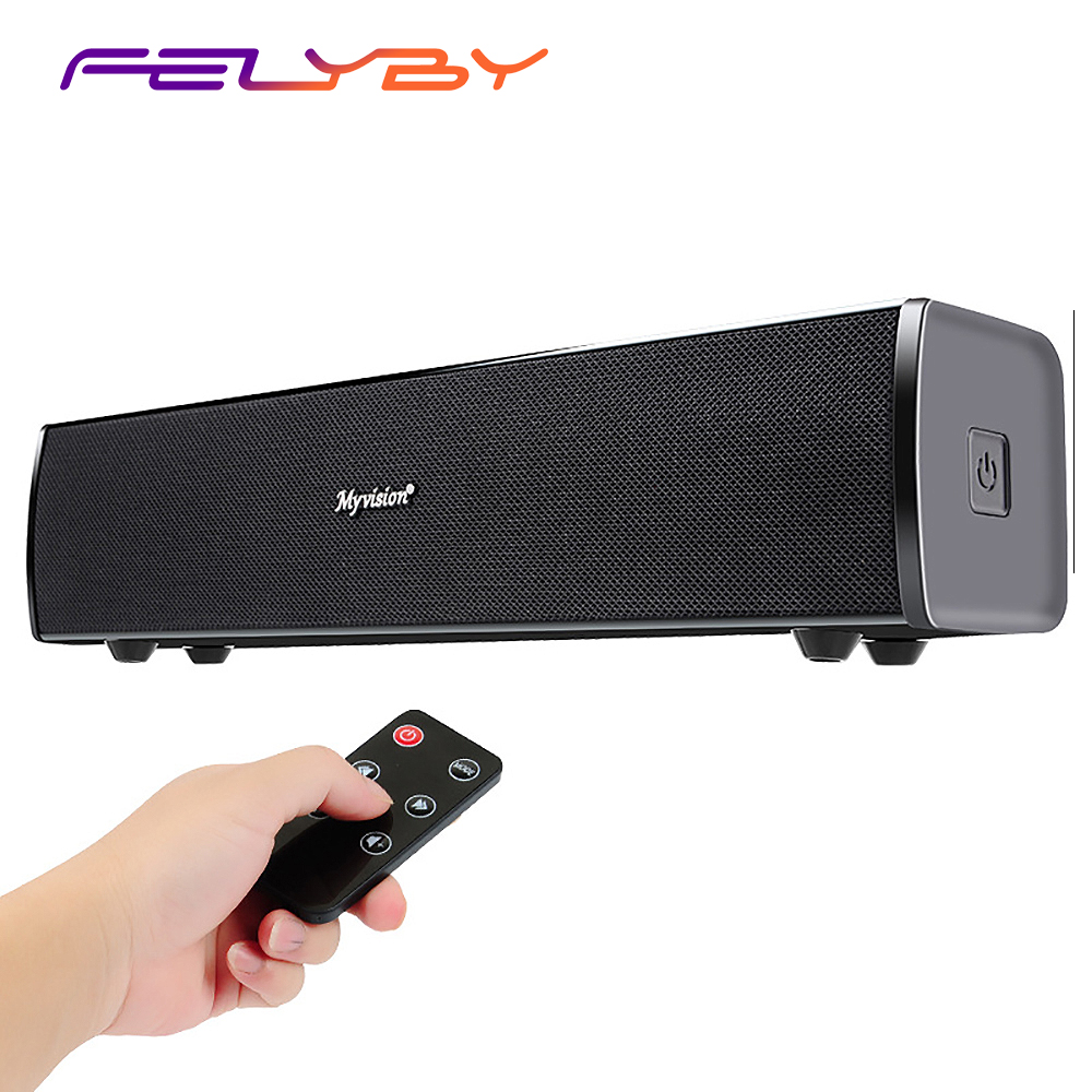 цена на FELYBY Surround Bluetooth Soundbar Wireless Speaker for TV Computer & iPhone with 3.5mm AUX Input and Wireless Remote
