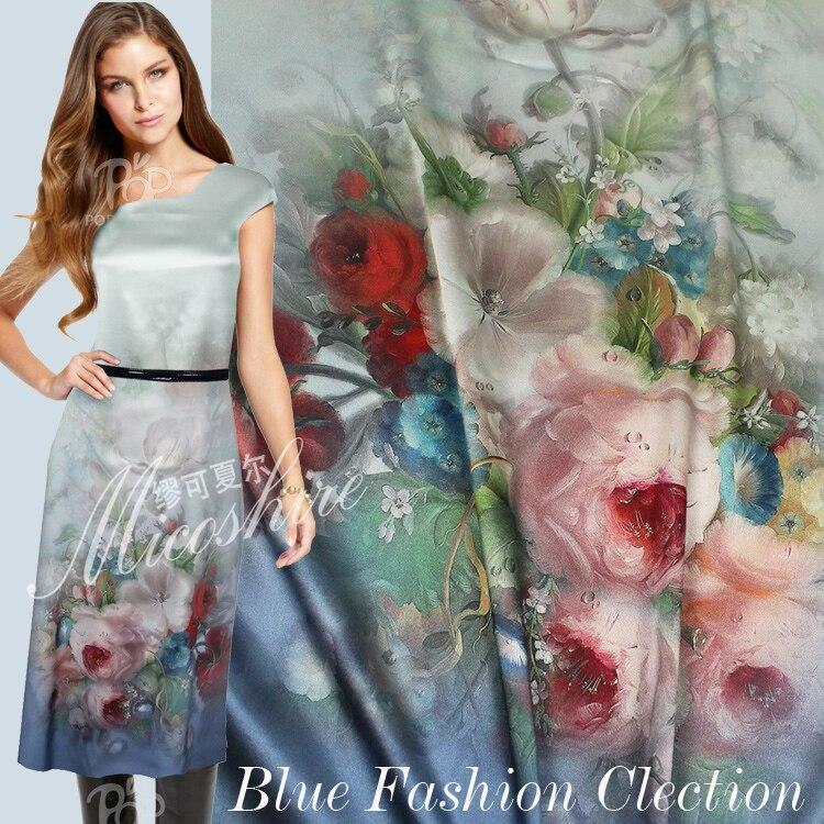 Telas Frete Pesado 97% seda amoreira tecido de cetim Elástico elegante plantas flores imprimir roupas one-pedaço de tecido do vestido formal