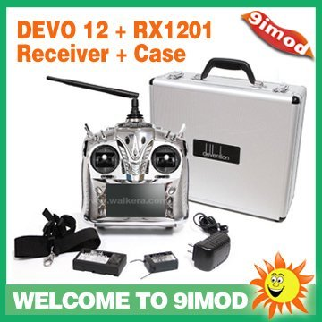 Hot!!! 12CH 2.4G Walkera DEVO 12 RC Radio Transmitter + DEVO-RX1201 Receiver + Case