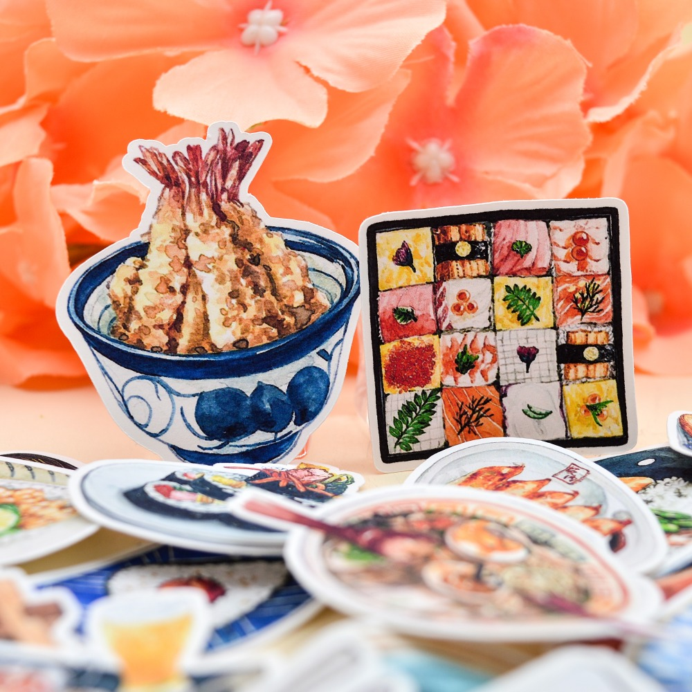 35pcs Kawaii  Watercolor Japanese Sushi Food Sticker Decoration Dry Glue /hand Book Diary Stationery Bullet Journal Stickers