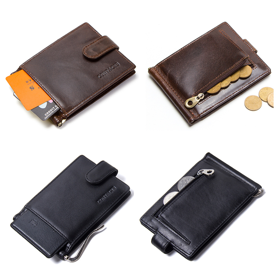 CONTACT'S cow leather money clip men card wallet thin money clamp for 10 cards male bifold credit card case with zip coin pocket 4