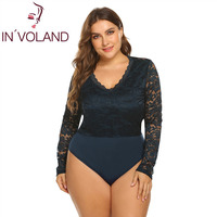 IN'VOLAND Plus Size Women Jumpsuits V Neck Long Sleeve Summer Rompers See Through Lace Patchwork Spring Casual Floral Bodysuit