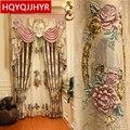 Европейский Топ, бежевый 4D рельефный большой цветок, толстая Затемняющая занавеска на окна для гостиной, высокое качество, занавеска на вил...