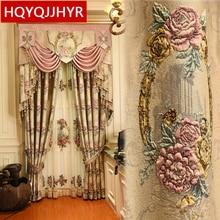 Top europeo Beige 4D en relieve grande flor gruesa opaca ventana cortinas para sala de estar de Alta Calidad villa dormitorio cortina