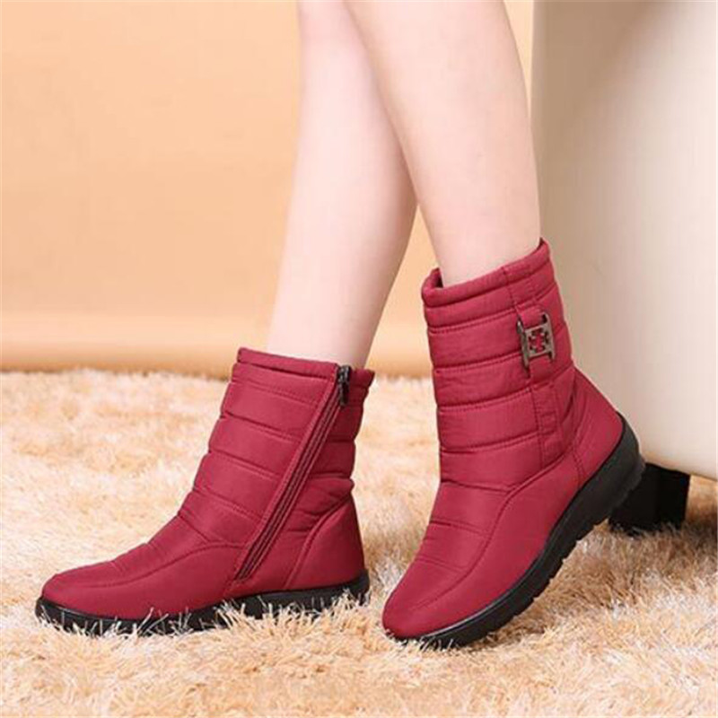 ФОТО Large size 35-42 Waterproof Snow boots Winter Non-slip Warm Mother's boots Mother shoes Zipper Buckle Light Women Shoes Botas