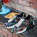 Мужская мода Повседневная Обувь Спорт Сетки Воздуха Дышащий Тренеры Корзина Zapatillas Прогулки Плоские Печатные Камуфляж корзина femme