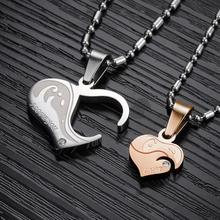 Fashion Jewelry Wholesale Romantic Couple Zircon Stainless Steel Pendant & Necklace Valentines Day Gifts