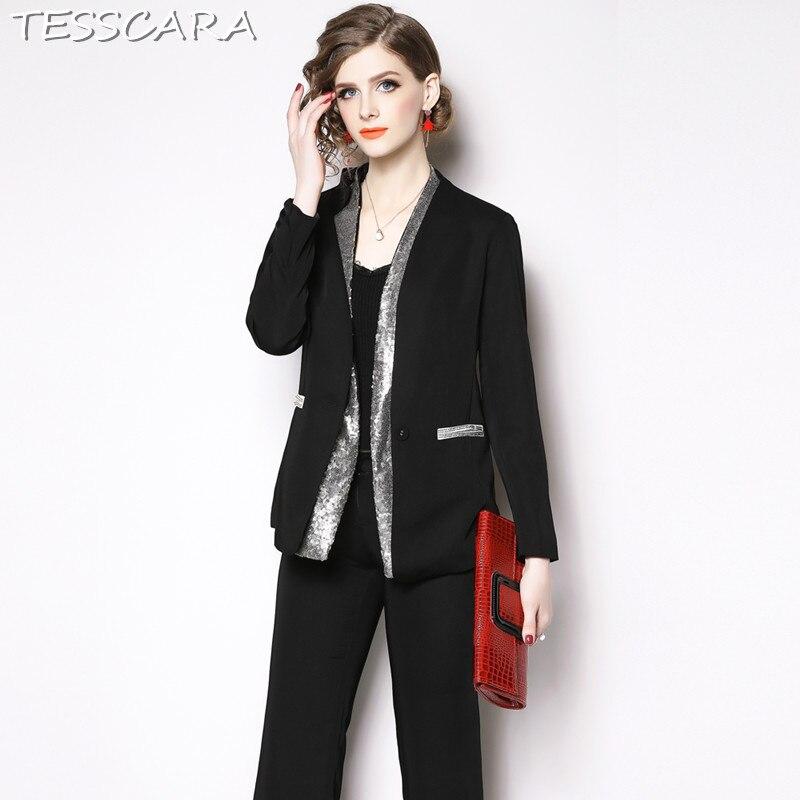 TESSCARA Vrouwen Elegant Sequin Blazer Designer Broek Pak Set Interview Pakken & blazer Hoge Kwaliteit Vrouw Office Dames Blazer-in Broekpak van Dames Kleding op  Groep 2