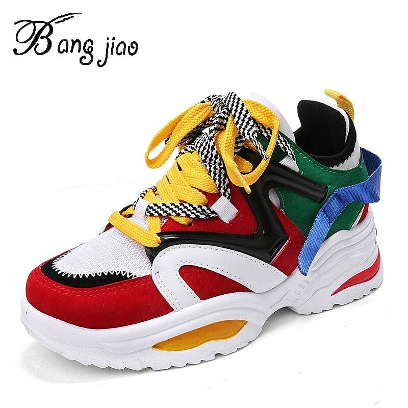 BANGJIAO Модные женские кроссовки на толстой подошве женские туфли на платформе Web Celebrity Коренастые кроссовки для пап Chaussures Femme Buty Damskie кроссовки