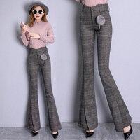 Korean Fashion High Waist Trousers Women Office Lady Plaid Freddy Pants Flared Womens Pants Flare Fashion Women Thin Pants
