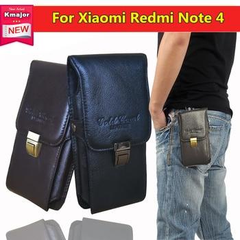 60c75601642 Lujo Retro Lichee cuero hombres viaje cinturón bucles cadera Bum bolso  cartera monederos teléfono funda para Xiaomi Redmi Note 4 Freeship
