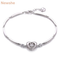 Newshe 0.5 Ct Dancing Stone Heart Romantic Chain Bracelet For Women 7.5 Inches 925 Sterling Silver Round AAA Cubic Zirconia