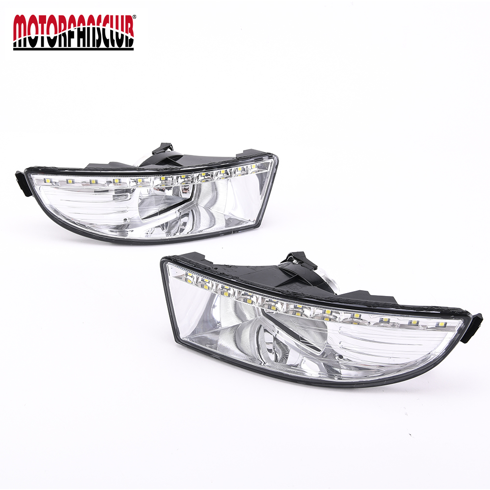 A pair of Auto Car LED Daytime Running Light For Skoda Octavia Fog Lamp DRL 2009 2010 2011 2012 dongzhen 1 pair daytime running light fit for volkswagen tiguan 2010 2011 2012 2013 led drl driving lamp bulb car styling