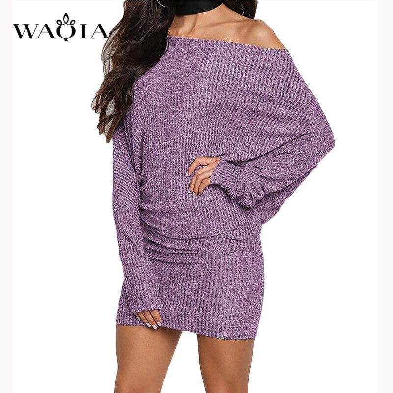 Waqia для женщин Весна Бандажное платье 2019 г. пикантные с плеча длинным рукавом Тонкий Эластичный Bodycon Вечеринка платья для