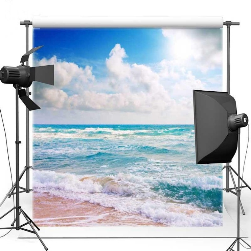 Blue Sky White Clouds Ocean Sea Beach backdrops Vinyl cloth High quality Computer print wall Backgrounds for sale