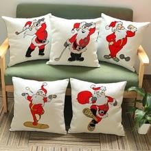2016 Christmas Father Cushion Without Core Custom Cotton Linen Decorative Pillows Sofa Chair Cushions Home Decor 45*45cm