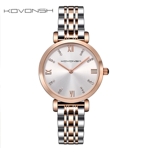 Image 2 - KOVONSH Women Watch Watches Ladies Watch Womans Female Watch Stainless Steel Dress Wrist Watches Silver Gold Gift Dropshipping