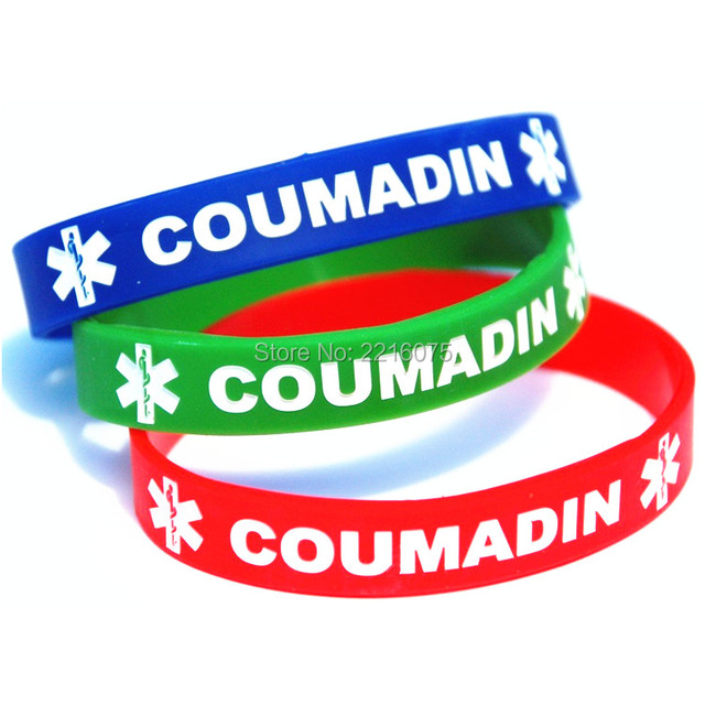 300pcs Coumadin Medical Alert Wristband Silicone Bracelets Free Shipping By Dhl Express