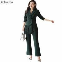 Kohuijoo春秋レディースエレガントなパンツスーツ女性ファッションオフィスビジネススーツプリーツブレザー+パンツセットフォーマルなワークウエア