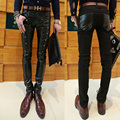 Free shipping  fashion PU leather patchwork skinny jeans men brand punk style slim pencil pants men Faux leather Trousers